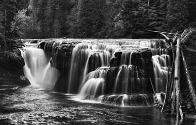 Waterfall Photograph - Lewis River Lower Falls Black And White by Mark Kiver