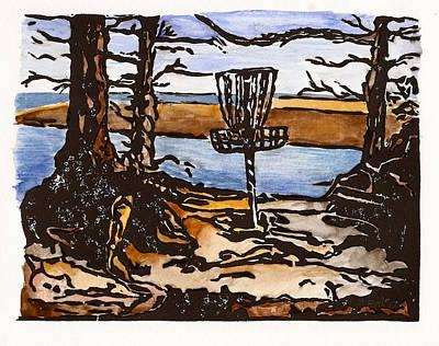 Lino Painting - Lewisville Lake Hole Three by Jason Reid