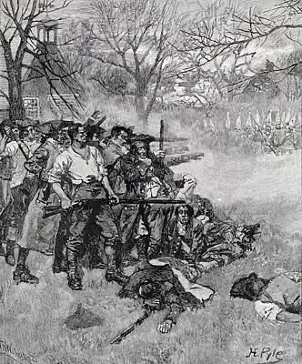 Lexington Green - If They Want War, It May As Well Begin Here, Engraved By F.h. Wellington Print by Howard Pyle