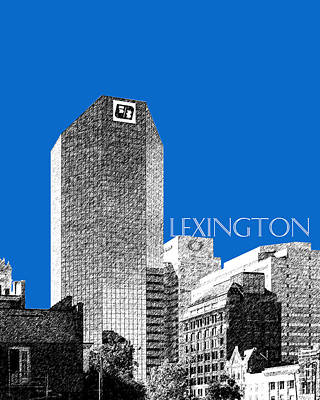 Pen Digital Art - Lexington Skyline - Blue by DB Artist