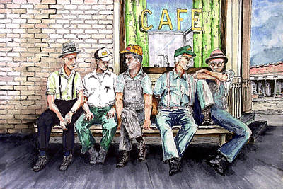 Cafes Painting - Liar's Bench by Sam Sidders