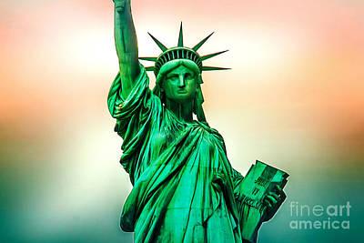 Statue Of Liberty Digital Art - Liberty And Beyond by Az Jackson