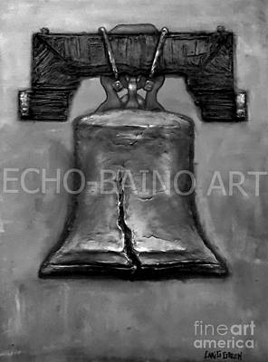 Liberty Bell - Gray With Logo Print by Craig Green