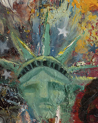 Statue Portrait Painting - Liberty Breaking Out by Trish Bilich