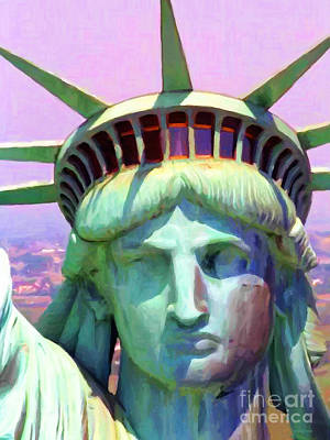 Statue Portrait Digital Art - Liberty Head Painterly 20130618 by Wingsdomain Art and Photography