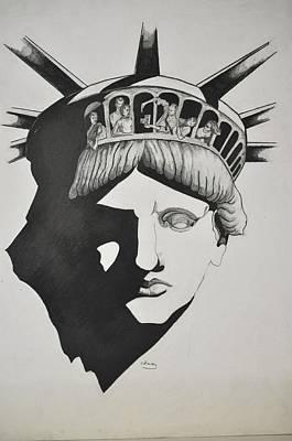 Liberty Head With People Print by Glenn Calloway