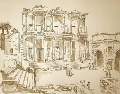 Sepia Ink Drawing - Library At Ephesus II by Marilyn Zalatan