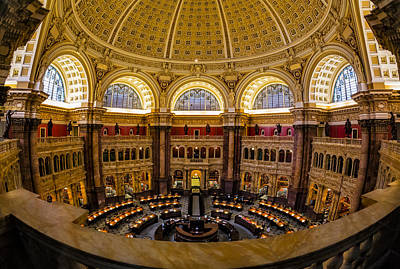 Library Of Congress Main Reading Room Print by Susan Candelario