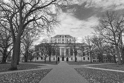 Library Ohio State University Black And White  Print by John McGraw