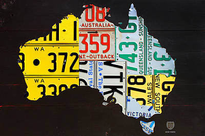 Adelaide Mixed Media - License Plate Map Of Australia by Design Turnpike