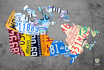 License Plate Map Of Canada On Gray Print by Design Turnpike