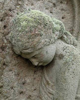 Lichen Growing On Gravestone Print by Cordelia Molloy