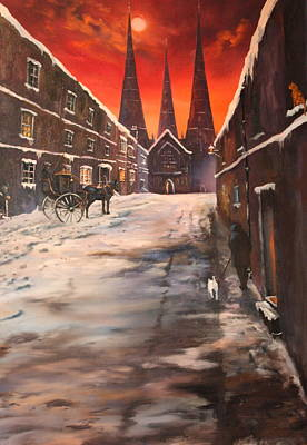 Renovation Painting - Lichfield Cathedral A View From The Close by Jean Walker
