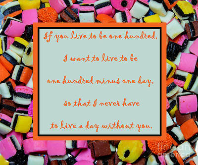 Licorice Digital Art - Licorice - Candy Border - Declaration Of Love - Quote by Barbara Griffin
