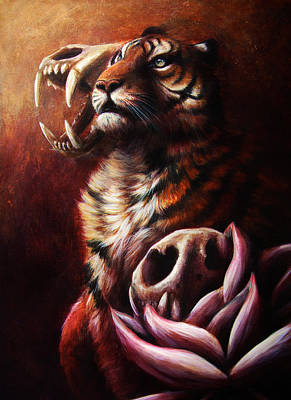 Tiger Drawing - Life And Death And Life by Danielle Trudeau