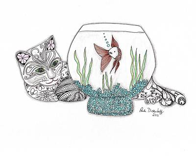 Goldfish Drawing - Life In A Bowl by Paula Dickerhoff