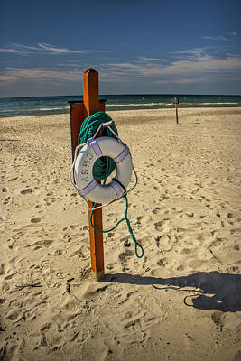 Life Preserver On The Beach In Pentwater Michigan Print by Randall Nyhof