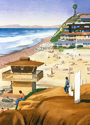 California Surfing Painting - Lifeguard Station At Moonlight Beach by Mary Helmreich