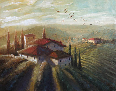 Tuscan Sunset Painting - Lifestyle Of Tuscany by Christopher Clark