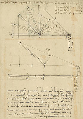 Lifting By Means Of Pulleys Of Beam With Extremity Fixed To Ground From Atlantic Codex Print by Leonardo Da Vinci