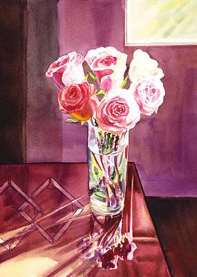 Gentle Painting - Light And Roses Impressionistic Still Life by Irina Sztukowski