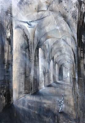 Church Pillars Painting - Light And Shadow by Annette Schmucker