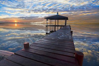 Light At The Lake Print by Debra and Dave Vanderlaan