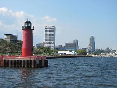 Lake Michigan Mixed Media - Light House Milwaukee Skyline 1 by Anita Burgermeister
