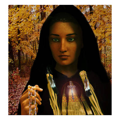 Rosary Digital Art - Saint Kateri Tekakwitha Light In The Darkness by Suzanne Silvir