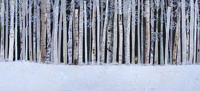 Snowed Trees Mixed Media - Light In The Forest by Barbara Kinnick