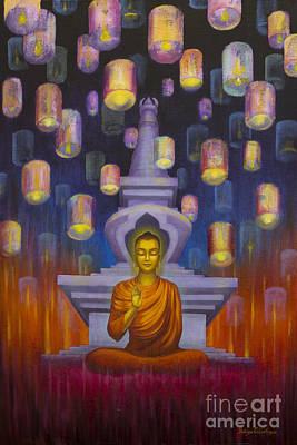 Tibetan Buddhism Painting - Light Of Buddha by Yuliya Glavnaya
