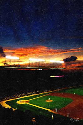 Wrigley Field Digital Art - Lights Of Wrigley Field by Ryan Cosgrove