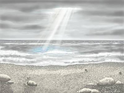 Seascape Digital Painting - Light On The Sea by Veronica Minozzi