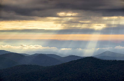 Landscape Photograph - Light Rays From Blue Ridge Parkway - Atmosphere by Dave Allen
