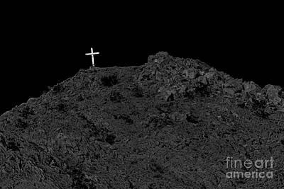Christian Sacred Photograph - Lighted Cross by Robert Bales