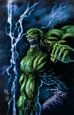 Incredible Hulk Digital Art - Lightening Hulk by David Bollt