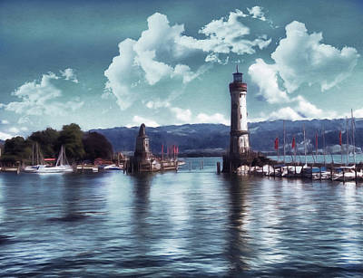 Waterscape Mixed Media - Lighthouse At Lindau by Georgiana Romanovna