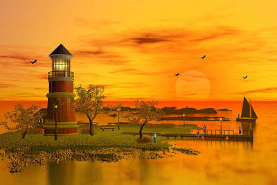 Orange Sunset Original by John Junek