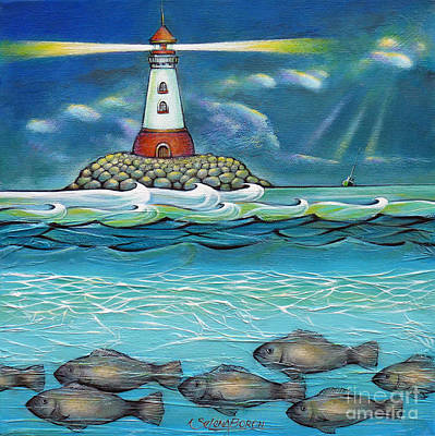 Large Painting - Lighthouse Fish 030414 by Selena Boron