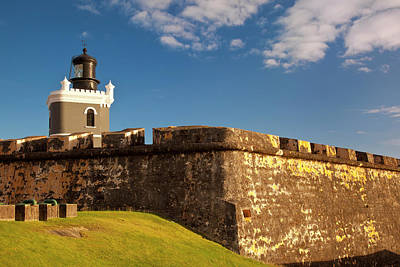 Lighthouse In Historic El Morro Fort Print by Brian Jannsen