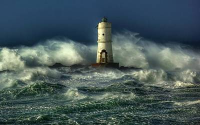 Ocean Digital Art - Lighthouse In The Storm by Gianfranco Weiss