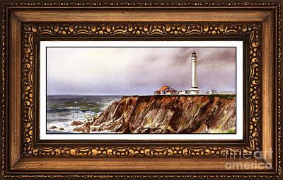 Lighthouse In Vintage Frame Print by Irina Sztukowski