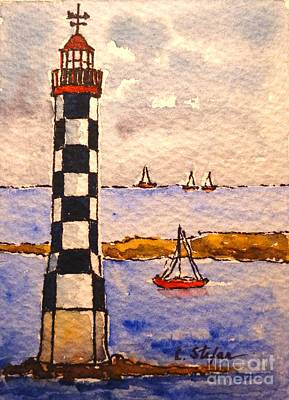 Red Painting - Lighthouse La Perdrix - France by Cristina Stefan