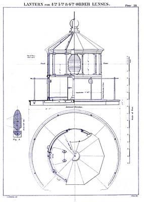 Old Drawing - Lighthouse Lantern Lense Order Blueprint by Jon Neidert