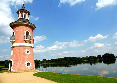 Lighthouse Near Moritzburg Castle Print by The Creative Minds Art and Photography