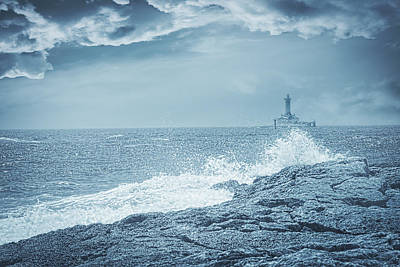 Lighthouse On A Stormy Day Print by Modern Art Prints