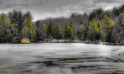 Snow Scenes Photograph - Lighthouse On Frozen Pond by David Patterson