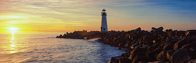 Santa Cruz Photograph - Lighthouse On The Coast At Dusk, Walton by Panoramic Images