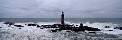 Grey Clouds Photograph - Lighthouse On The Coast, Graves Light by Panoramic Images