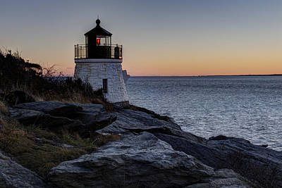 House On The Hill Photograph - Lighthouse On The Rocks At Castle Hill by Andrew Pacheco